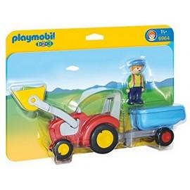 6964 FERMIER AVEC TRACTEUR ET REMORQUE PLAYMOBIL 123 -jouets-sajou-56