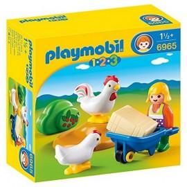 6965 AGRICULTRICE AVEC BROUETTE ET COQ PLAYMOBIL 123 -jouets-sajou-56
