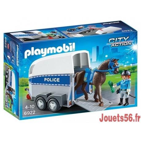 6922 POLICIERE AVEC CHEVAL ET REMORQUE-jouets-sajou-56