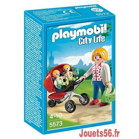 5573-MAMAN AVEC JUMEAUX ET LANDAU PLAYMOBIL-jouets-sajou-56