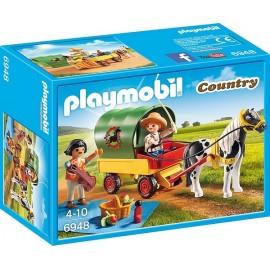 6948 ENFANTS AVEC CHARIOT ET PONEY-jouets-sajou-56