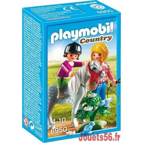 6950  CAVALIERE AVEC SOIGNEUR ET PONEY-jouets-sajou-56