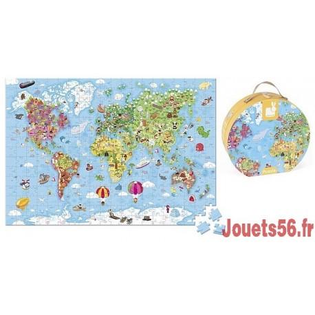 PUZZLE CARTE DU MONDE 300 PCES VALISETTE RONDE-jouets-sajou-56