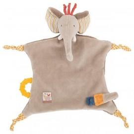 DOUDOU ATTACHE TETINE ELEPHANT LES PAPOUM