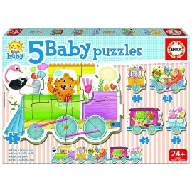 5 BABY PUZZLES TRAIN DES ANIMAUX