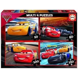 MULTI 4 PUZZLES CARS 3 - 50-80-100-150 PCES