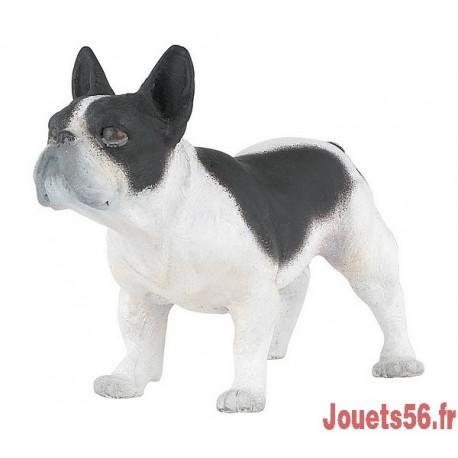 CHIEN BOULEDOGUE FRANCAIS NOIR ET BLANC-jouets-sajou-56