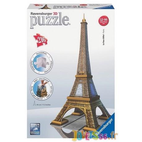PUZZLE 3D TOUR EIFFEL 216PC - Jouets56.fr - Magasin jeux et jouets dans Morbihan en Bretagne