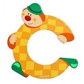 LETTRE C - CLOWN BOIS PEINT-jouets-sajou-56