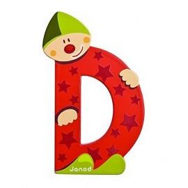 LETTRE D - CLOWN BOIS PEINT-jouets-sajou-56