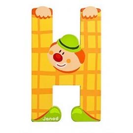 LETTRE H - CLOWN BOIS PEINT-jouets-sajou-56