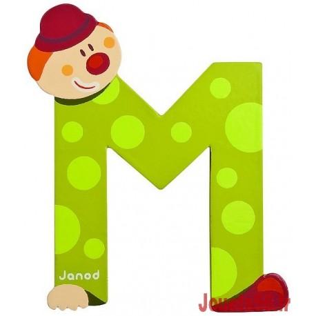 LETTRE M - CLOWN BOIS PEINT-jouets-sajou-56