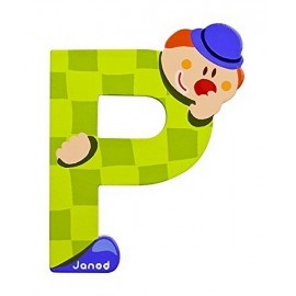 LETTRE P - CLOWN BOIS PEINT-jouets-sajou-56