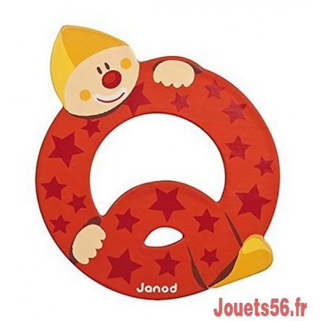 LETTRE Q - CLOWN BOIS PEINT-jouets-sajou-56