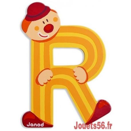 LETTRE R - CLOWN BOIS PEINT-jouets-sajou-56