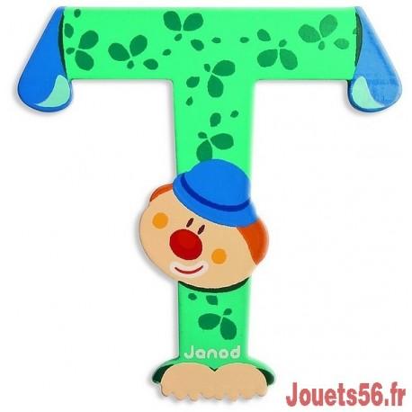 LETTRE T - CLOWN BOIS PEINT-jouets-sajou-56