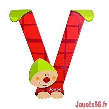 LETTRE V - CLOWN BOIS PEINT-jouets-sajou-56